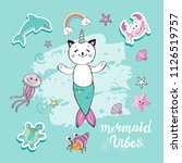 a cute funny cat with a mermaid'... | Shutterstock .eps vector #1126519757