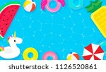 pool party frame background... | Shutterstock .eps vector #1126520861