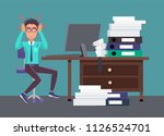 businessman tired of work... | Shutterstock .eps vector #1126524701