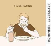 binge eating man character hand ... | Shutterstock .eps vector #1126531634
