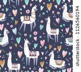 seamless pattern with llama and ... | Shutterstock .eps vector #1126560194