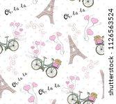 paris theme seamless pattern... | Shutterstock .eps vector #1126563524