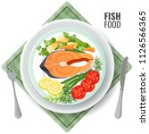 fish food roasted salmon meat... | Shutterstock .eps vector #1126566365