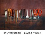 homemade leather craft tool and ... | Shutterstock . vector #1126574084