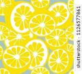 lemons and oranges pattern... | Shutterstock .eps vector #1126577861