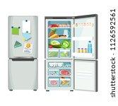 modern fridge with different... | Shutterstock .eps vector #1126592561