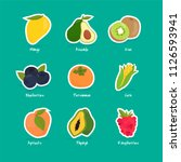 collection of fruits and berries | Shutterstock .eps vector #1126593941