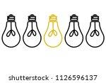 light bulb lit between light... | Shutterstock .eps vector #1126596137