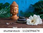 pyramids of gray zen stones... | Shutterstock . vector #1126596674