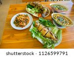 set of thai food  stir fried ... | Shutterstock . vector #1126599791