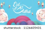 muslim holiday eid al adha. the ... | Shutterstock .eps vector #1126605431
