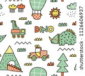 childish seamless pattern with... | Shutterstock .eps vector #1126606937