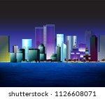 vector modern skyscrapers at... | Shutterstock .eps vector #1126608071