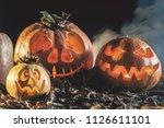 halloween pumpkin at wood...   Shutterstock . vector #1126611101
