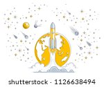 rocket launch into undiscovered ... | Shutterstock .eps vector #1126638494