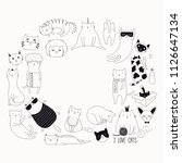 set of cute funny black and... | Shutterstock .eps vector #1126647134