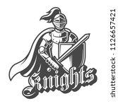 monochrome brave knight label... | Shutterstock .eps vector #1126657421