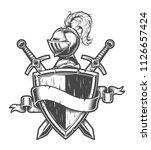 vintage medieval knight emblem... | Shutterstock .eps vector #1126657424