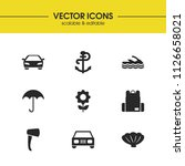 summer icons set with anchor ...