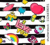 vector romantic love seamless...   Shutterstock .eps vector #1126658051
