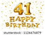 raster copy happy birthday 41th ... | Shutterstock . vector #1126676879
