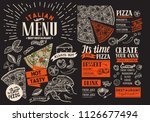 pizza restaurant menu. vector... | Shutterstock .eps vector #1126677494