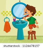 little boy brushing his teeth... | Shutterstock .eps vector #1126678157
