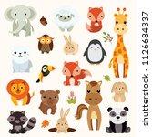 Stock vector illastrator of zoo animal cartoon animation 1126684337