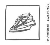 iron icon vector hand drawn....