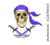 skull and two sabers. jolly...   Shutterstock .eps vector #1126700315