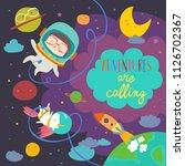 girl astronaut with her unicorn   Shutterstock .eps vector #1126702367