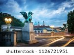 dragon bridge  zmajski most  ... | Shutterstock . vector #1126721951