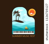 summer music with piano  sea ... | Shutterstock .eps vector #1126735127