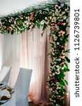 arch above festive table... | Shutterstock . vector #1126739801