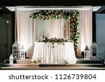 arch on festive table newlyweds ... | Shutterstock . vector #1126739804