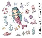 marine illustrations set.... | Shutterstock .eps vector #1126740707