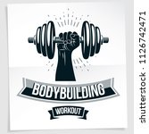 weightlifting club promotion... | Shutterstock .eps vector #1126742471