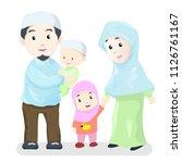 happy muslim family  vector... | Shutterstock .eps vector #1126761167