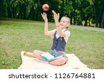 student is smiling happily and... | Shutterstock . vector #1126764881