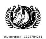 horse and horseshoe on a white...
