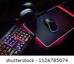 gamer workspace concept  top... | Shutterstock . vector #1126785074