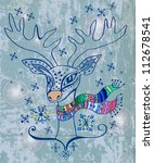 illustration of a christmas deer with a colorful scarf over vintage background - stock photo