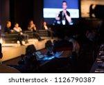 panel speaker on stage... | Shutterstock . vector #1126790387