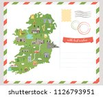 irish map with symbols of... | Shutterstock .eps vector #1126793951
