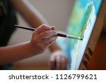 preschool girl painting in art... | Shutterstock . vector #1126799621