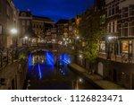 utrecht architecture at night.... | Shutterstock . vector #1126823471