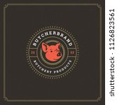 butcher shop logo vector... | Shutterstock .eps vector #1126823561
