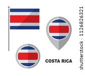 costa rica flag and map pointer ... | Shutterstock .eps vector #1126826321