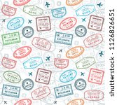 passport stamps vector seamless ... | Shutterstock .eps vector #1126826651