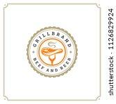 grill restaurant logo vector... | Shutterstock .eps vector #1126829924
